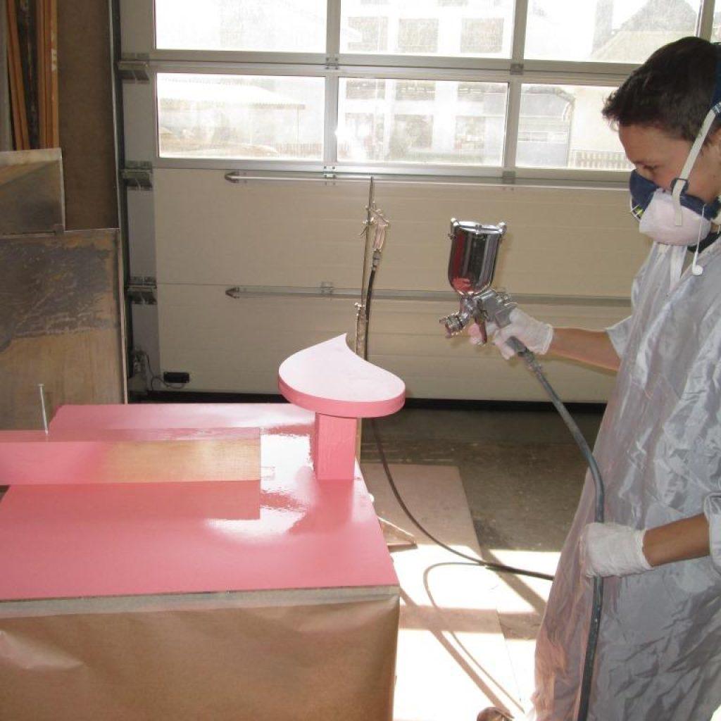 Spritzen der Flamingos