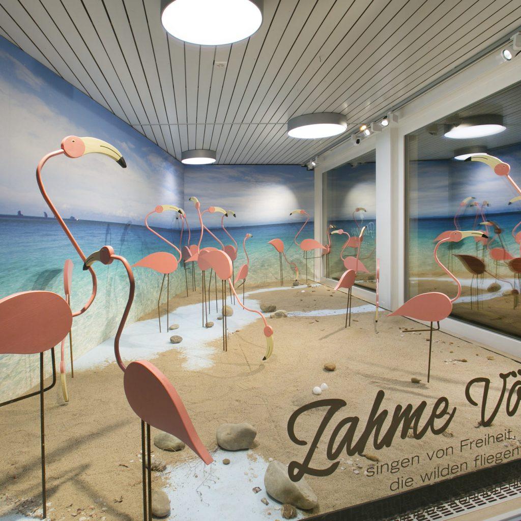 Schaufenster mit Flamingos